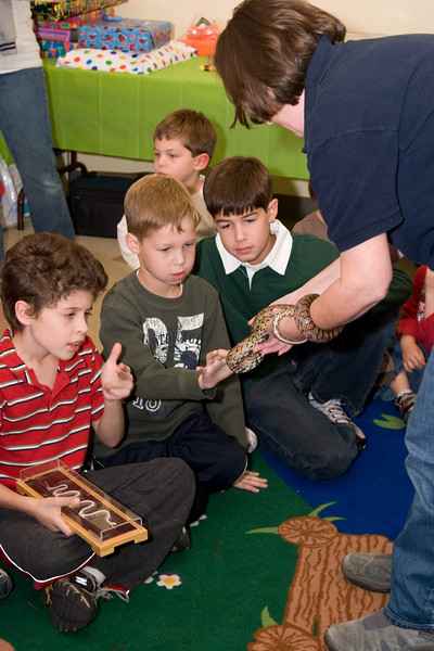 "Noah, Adam, and Josh use their ""magic fingers"" to touch the snake. (Noah is holding a snake skeleton.)"