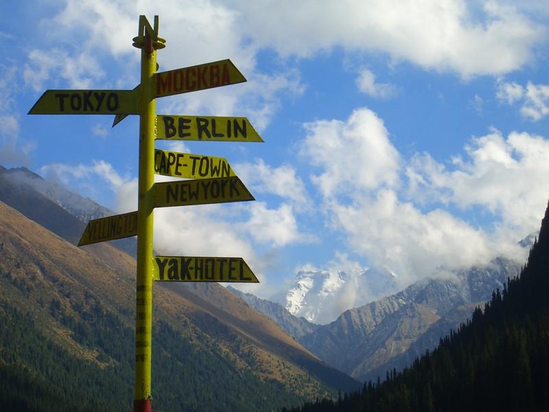 Signs at Altyn Arashan, Kyrgyzstan