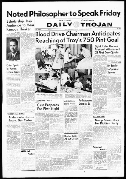 Daily Trojan, Vol. 48, No. 107, April 03, 1957