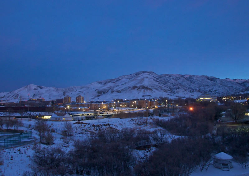 Early morning light behind the University of Utah campus