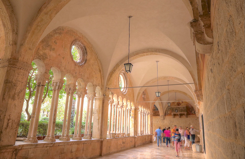 Inside the gorgeous mid-14th-century cloister of the Franciscan Monastery - Dubrovnik