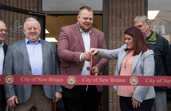 01/27/20 Wesley Bunnell | StaffrrPodlaise Meat Market held its ribbon cutting on Monday afternoon at its 188 High St. location. Owner Henryk Skrodzki, manager Lukasz Skrodzki and Mayor Erin Stewart.