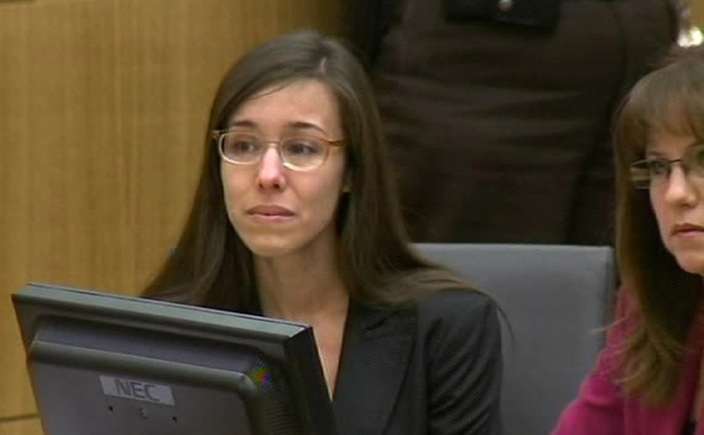 . In this image made from pool video provided by APTN, Jodi Arias reacts during the reading of the verdict in at Maricopa County Superior Court in Phoenix, Wednesday, May 8, 2013. Arias was convicted of first-degree murder in the gruesome killing of her one-time boyfriend in Arizona after a four-month trial that captured headlines with lurid tales of sex, lies, religion and a salacious relationship that ended in a blood bath. (AP Photo/APTN, Pool)