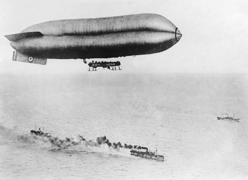 . French airship guarding American transports in an undated photo during World War I. Location unknown. (AP Photo)