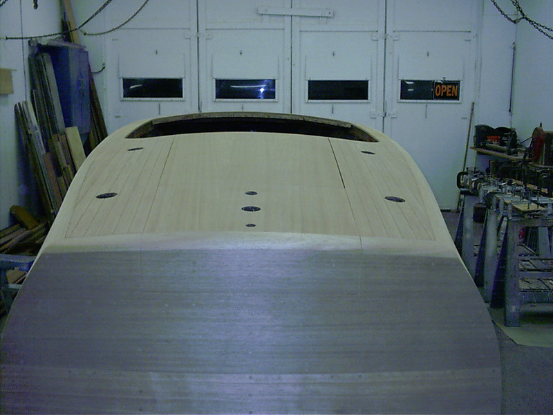 View of rear deck seams routed.