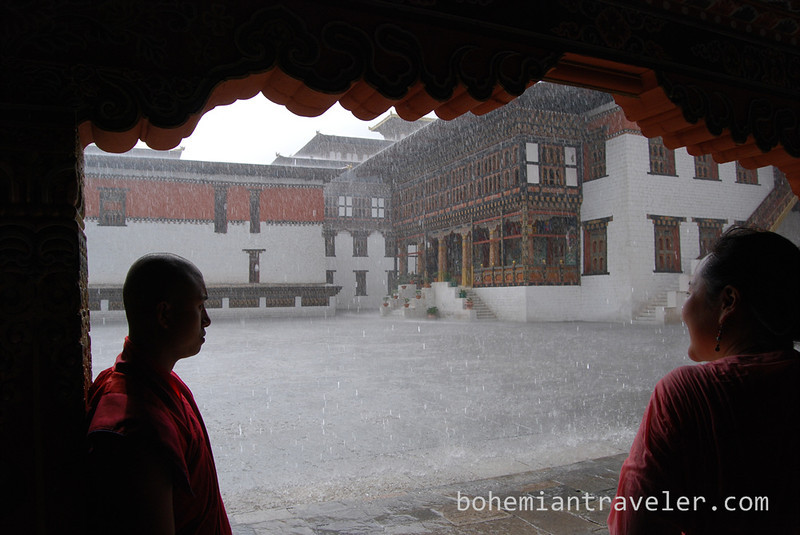 inside Tashichho Dzong in Thimphu Bhutan during rain.jpg