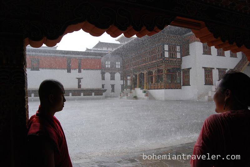 inside Tashichho Dzong in Thimphu Bhutan during rain.jpg
