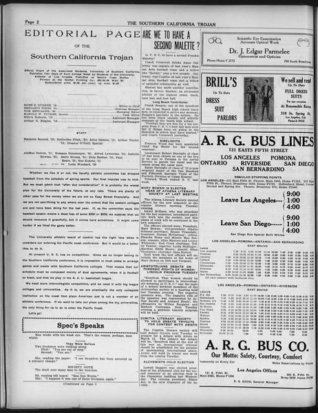 The Southern California Trojan, Vol. 9, No. 25, February 08, 1918