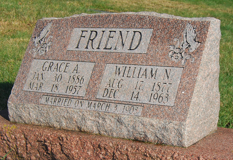 Grave for Grace and William Friend, my Great Grandparents.