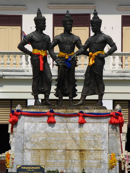 Three Kings Monument in Chiang Mai city.
