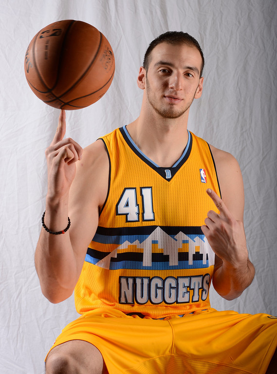 . Kosta Koufos of the Denver Nuggets poses for portraits  during Media Day at Pepsi Center on Monday, October 1, 2012. The team also unveiled their new alternate uniform. John Leyba, The Denver Post