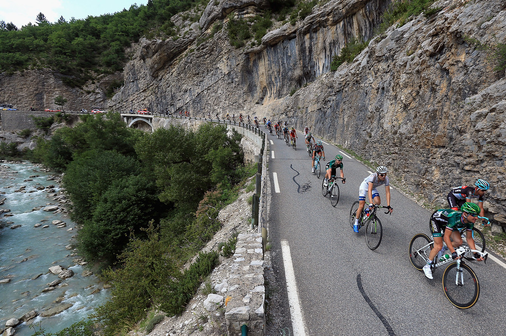 . The breakaway passes through the Gorges de la Meouge during stage sixteen of the 2013 Tour de France, a 168KM road stage from Vaison-la-Romaine to Gap, on July 16, 2013 in Chateau Neuf de Chabre, France.  (Photo by Doug Pensinger/Getty Images)