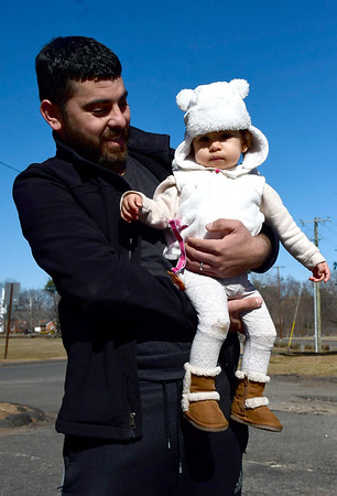 3/5/2020 Mike Orazzi | Staff Karim Lounaci and his daughter Ryma,1, while spending some time in Bristol's Page Park on Thursday.