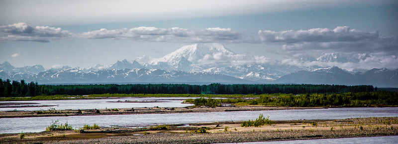 Mt. McKinley and the Susitna River, from 80 miles east, north of Talkeetna