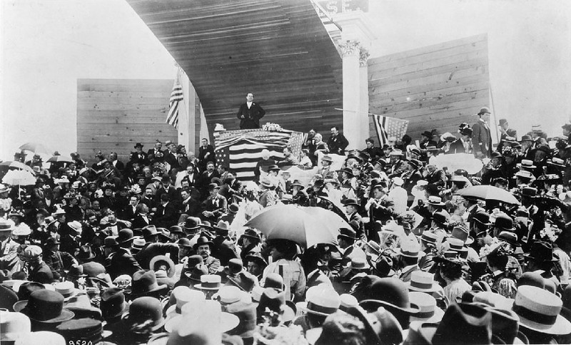 William Jennings Bryan addressing the citizens of Los Angeles, July 5, 1897