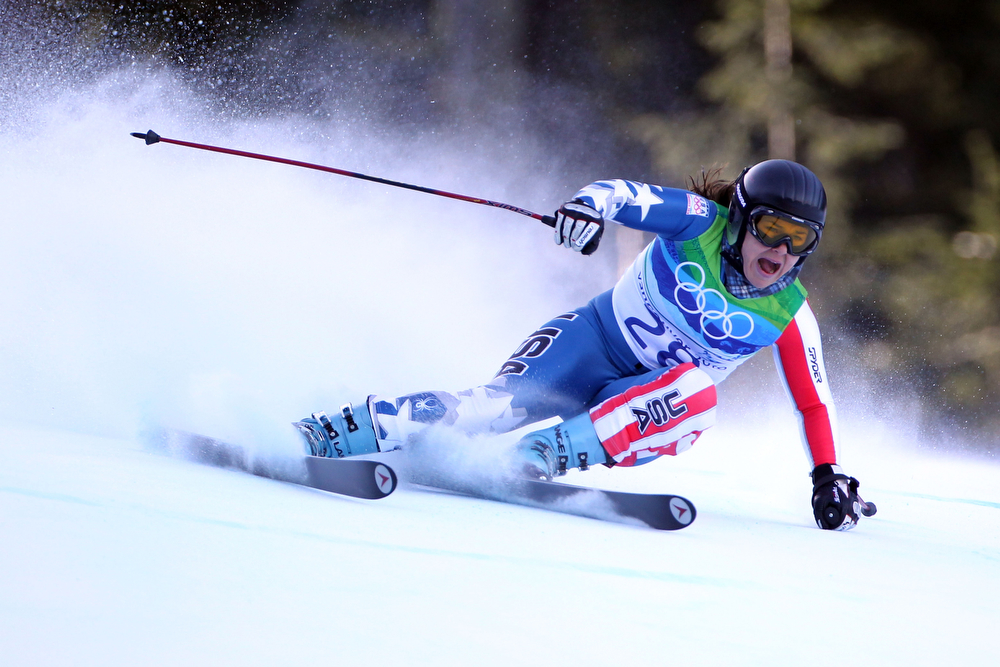 . Leanne Smith of The United States competes during the Alpine Skiing Ladies Super Combined Downhill on day 7 of the Vancouver 2010 Winter Olympics at Whistler Creekside on February 18, 2010 in Whistler, Canada.  (Photo by Doug Pensinger/Getty Images)