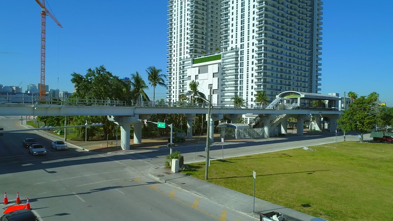 Aerial drone footage Square Station Downtown Miami Florida a rental condominium by the metrorail