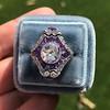 2.27ct (est) Art Deco Old European Cut Diamond with Amethyst Halo Ring 21