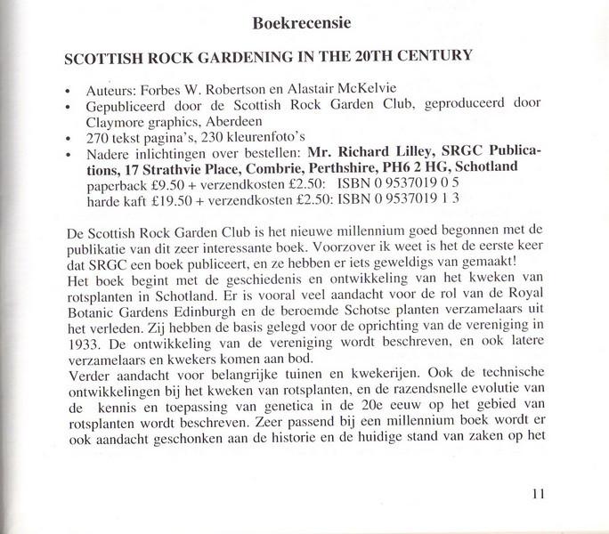 Boekrecensie - Scottish Rock Gardening in the 20th Century, NRW Nieuwsbrief 59, Kees Jan van Zwienen, May 2000