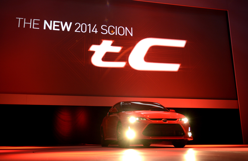 . The 2014 Scion tC coupe is on display during the second  press preview day at the New York International Auto Show March 28, 2013 in New York.  TIMOTHY A. CLARY/AFP/Getty Images