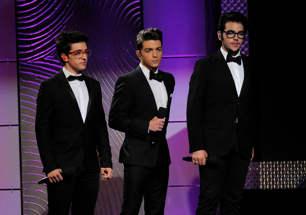 . August 28, 2013: Il Volo:<br /> <br />Piero Barone, from left, Gianluca Ginoble and Ignazio Boschetto, of the musical group Il volo, speak on stage at the 40th Annual Daytime Emmy Awards on Sunday, June 16, 2013, in Beverly Hills, Calif. (Photo by Chris Pizzello/Invision/AP)
