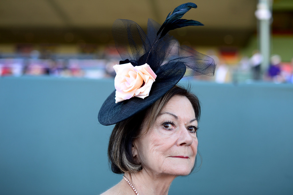 . Cathy Heywood, of San Bernadino, during the Breeders\' Cup at Santa Anita Park in Arcadia Friday, November 1, 2013. (Photo by Sarah Reingewirtz/Pasadena Star-News)