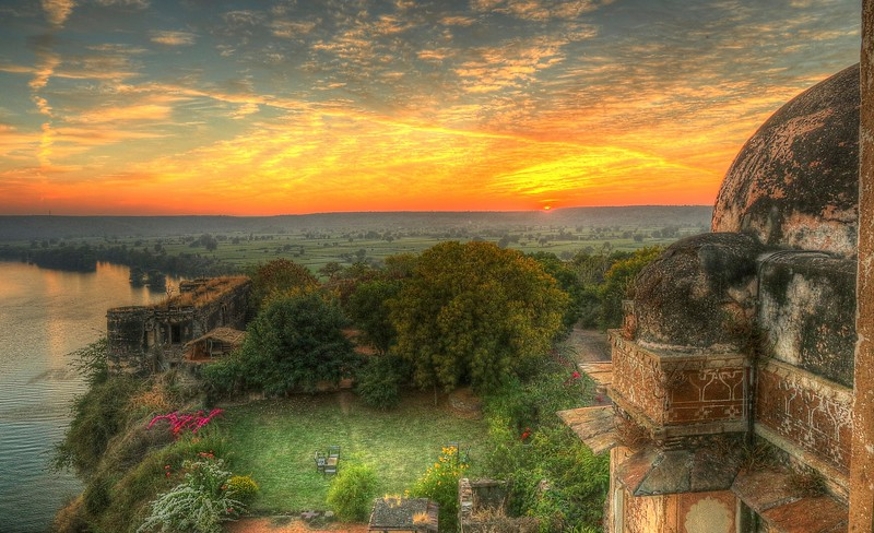 Sunset along the Chambal river from Bhainsrorgarh Heritage Hotel