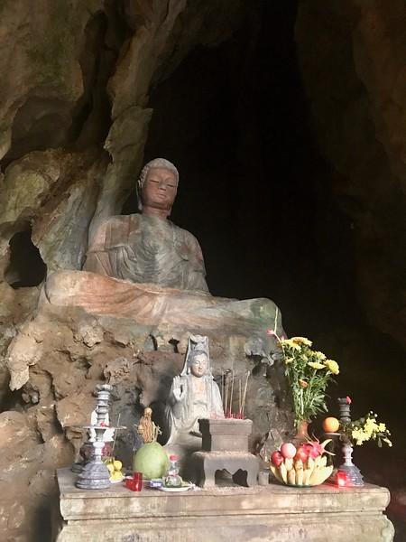 Inside the grottoes at Marble Mountain