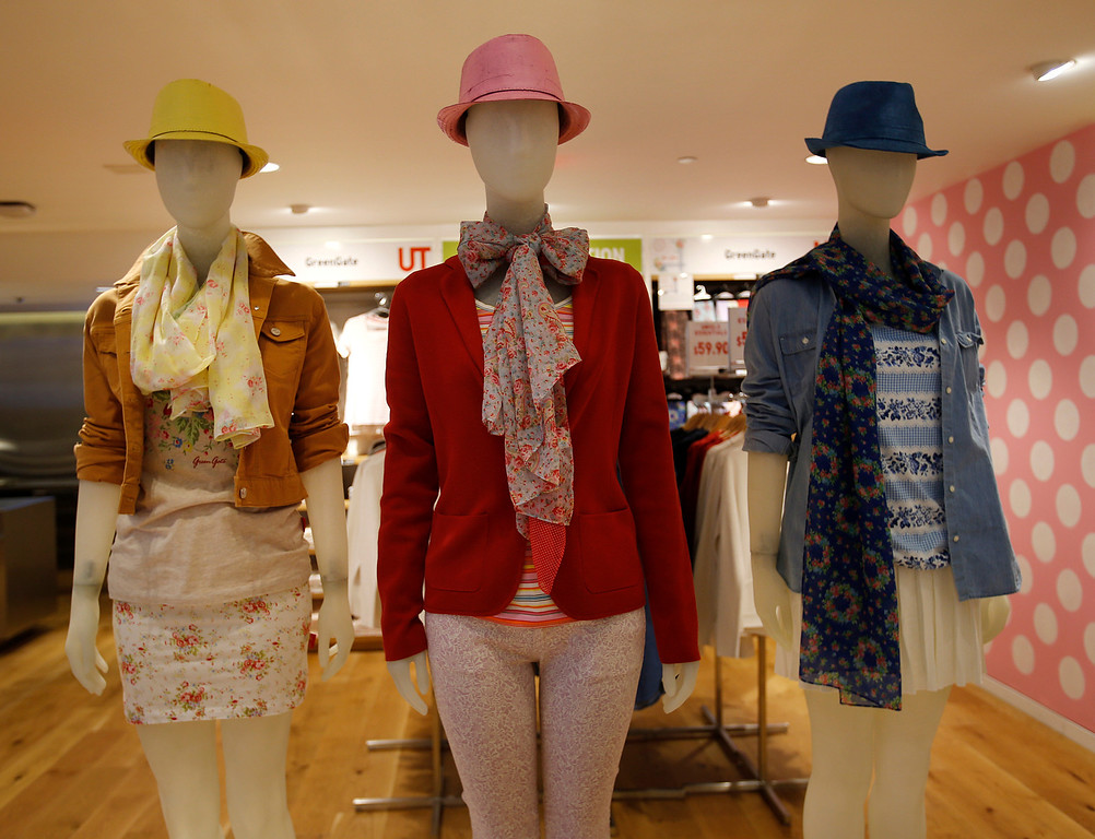 . Mannequins display the Green Gate Copenhagen Collaboration on the main floor of the Uniqlo clothing store on Powell St. in downtown San Francisco, Calif. on Thursday, Jan. 17, 2013.  They opened their store in San Francisco in October 2012.  (Nhat V. Meyer/Staff)