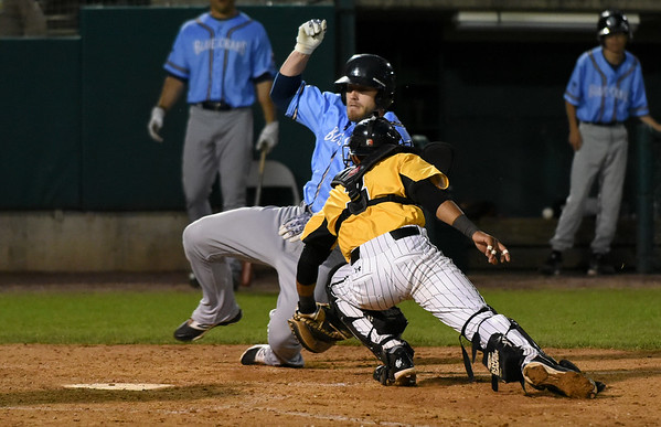 052617  Wesley Bunnell   Staff  The New Britain Bees were defeated by the Southern Maryland Blue Crabs 3-1 on Friday evening. James Skelton (3) applies the tag in time at a play at the plate.