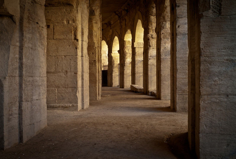 Inside the walls and arches of the arena in Arles.