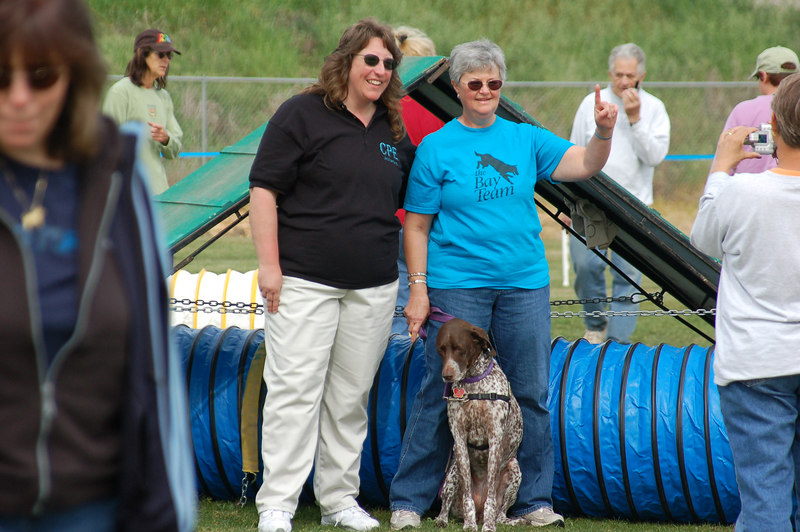 C-ATCH2 Holly with owner Donna and judge Cheryl Huffman