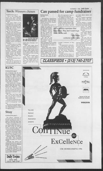 Daily Trojan, Vol. 129, No. 46, November 01, 1996