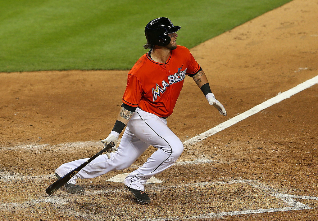 . Jarrod Saltalamacchia #39 of the Miami Marlins hits during Opening Day against the Colorado Rockies at Marlins Park on March 31, 2014 in Miami, Florida.  (Photo by Mike Ehrmann/Getty Images)