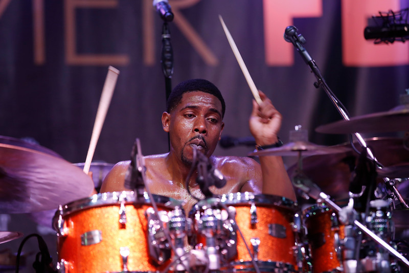 Russell Batiste Jr. plays the drums with Funky Meters during the San Jose Jazz Festival at the Plaza de César Chavez in San Jose, Calif., on Friday, Aug. 12, 2016. (Jim Gensheimer/Bay Area News Group)