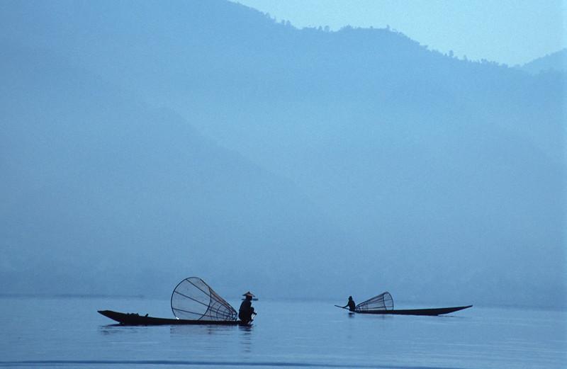 Two Fishing Boats in Early Morning Mist, Inle Lake (Burma)
