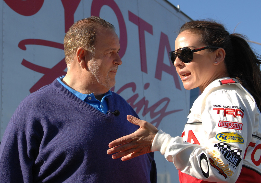 . 4/9/13 - Kate del Castillo gives an interview during media day for the 39th Annual Toyota Grand Prix of Long Beach. The celebrity/pro races spent the day practicing on the track, joking with their racing partners and giving interviews. Photo by Brittany Murray / Staff Photographer