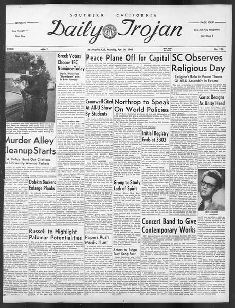 Daily Trojan, Vol. 39, No. 126, April 26, 1948