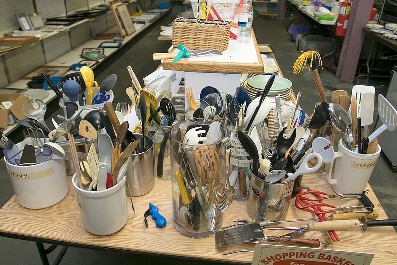 Ginny's Helping Hands, Inc. in Leominster will be doing Thanksgiving baskets again this year for those in need. They gave out almost 300 baskets last year for the holiday. Just some of the cooking utensil they have at Ginny's. SENTINEL & ENTERPRISE/JOHN LOVE