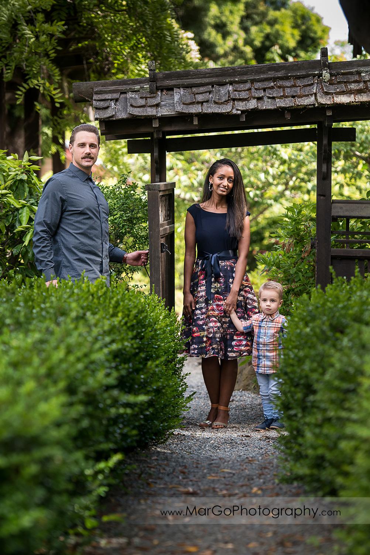 family of 3 living japanese garden in Shinn Historical Park and Arboretum in Fremont