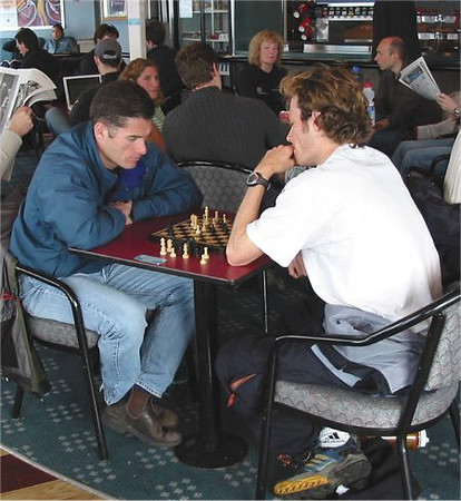 2003 Vancouver Sun Run - Kennell and Finlayson pass the time on the ferry to the race
