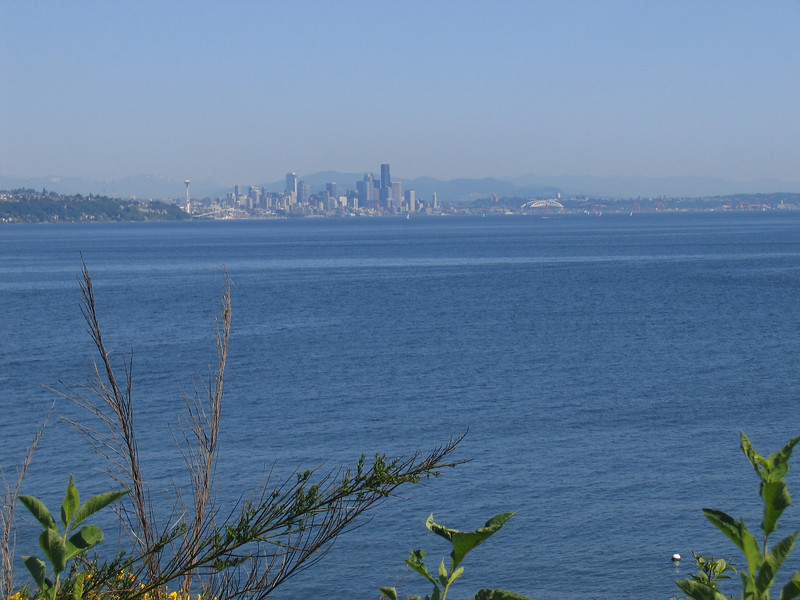 Seattle with the Cascades barely visible (it was hazy that day).