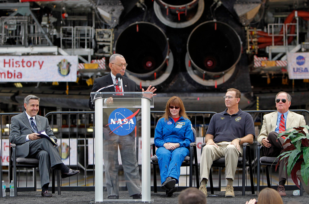 . NASA Administrator Charles Bolden, second from left,  speaks to employees and guests prior to announcing the final destinations of the three retiring space shuttles with, from left,  Bob Cabana, director of the Kennedy Space Center, Bolden,  Janet Kavandi, Flight Crew Operations Director at the Johnson Space Center, Mike Parrish of the United Space Alliance(USA), and Bob Crippen, former astronaut and the space shuttle\'s first pilot, at the Kennedy Space Center in Cape Canaveral, Fla., Tuesday, April 12, 2011. (AP Photo/John Raoux)