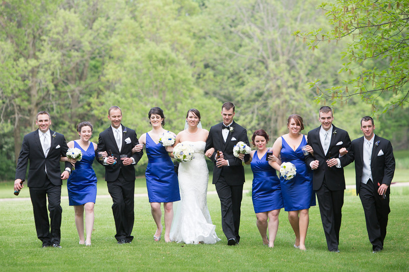 Bridal party formals at Midway Village after a Wedding ceremony at the Radisson Hotel in Rockford, IL. Wedding photographer - Ryan Davis Photography - Rockford, Illinois.