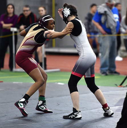 2/29/2020 Mike Orazzi | StaffrNorthwestern's Janice Williams and New Britain's Makhia James during the CIAC 2020 State Open Wrestling Tournament at the Floyd Little Athletic Center in New Haven.r