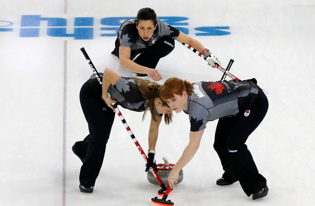 . Canada\'s Jill Officer watches as Dawn McEwen, right, and Kaitlyn Lawes, left, sweep the ice during the women\'s curling competition against Denmark at the 2014 Winter Olympics, Thursday, Feb. 13, 2014, in Sochi, Russia. (AP Photo/Wong Maye-E)