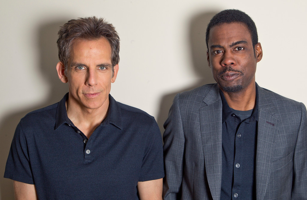 . Actors Chris Rock, right, and Ben Stiller  pose for photographs following an interview with The Associated Press for Madagascar 3: Europe\'s Most Wanted at the 65th international film festival, in Cannes, southern France, Thursday, May 17, 2012. (AP Photo/Joel Ryan)