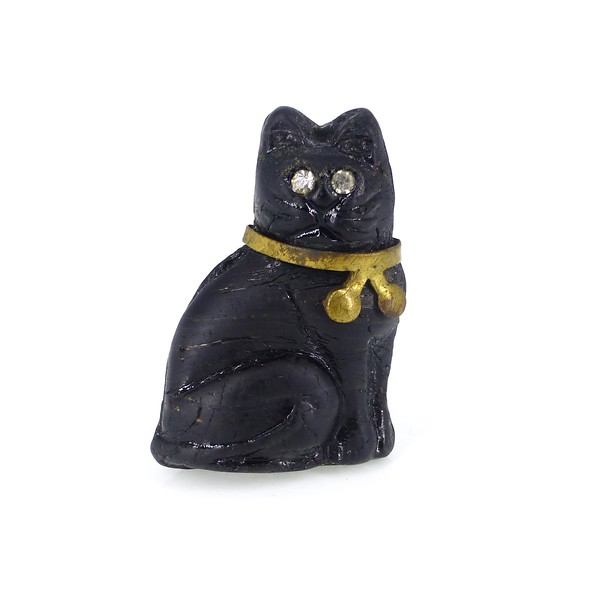 Antique Edwardian Czech Black Glass Cat Lucky Cracker Charm