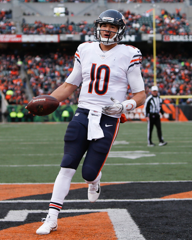 . Chicago Bears quarterback Mitchell Trubisky runs in a touchdown in the second half of an NFL football game against the Cincinnati Bengals, Sunday, Dec. 10, 2017, in Cincinnati. (AP Photo/Frank Victores)