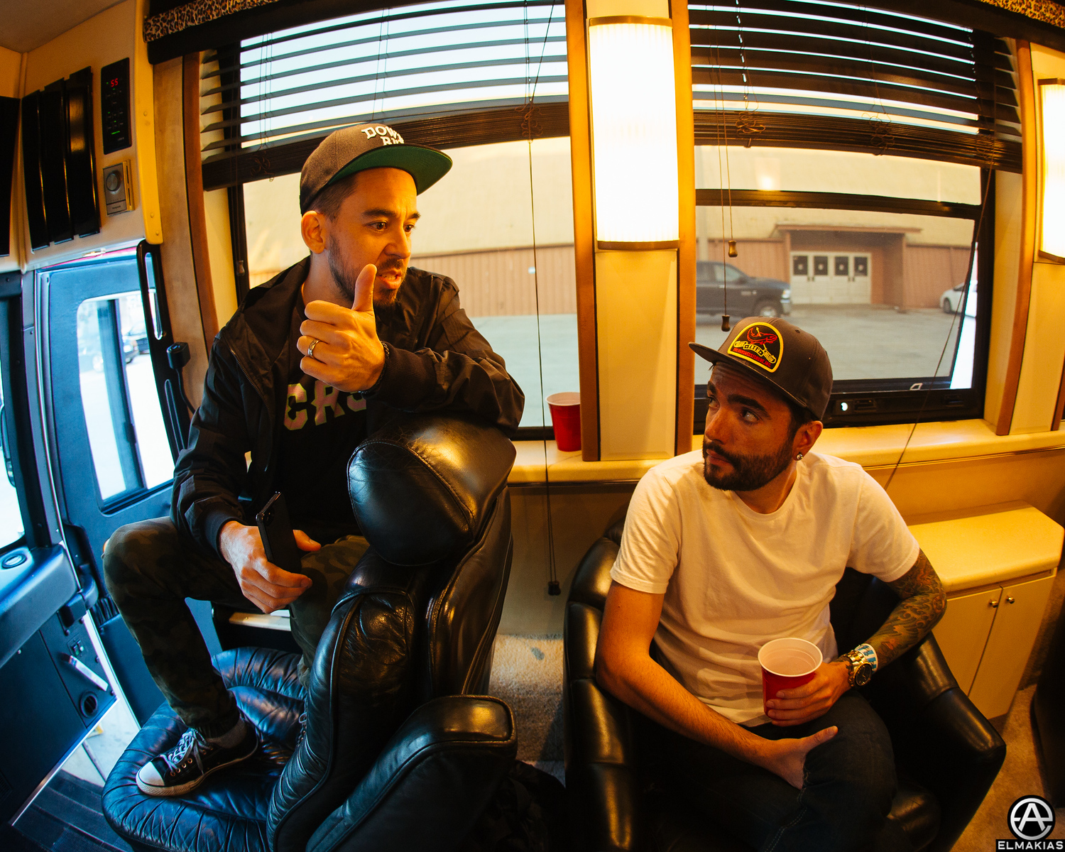 Mike and Jeremy talking on the bus later that night
